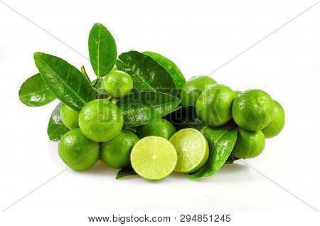 Seedless Organic Lime Fruits (citrus Aurantifolia) Isolated On White Background.