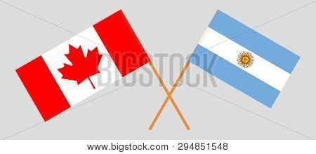 Argentina And Canada. The Argentinean And Canadian Flags. Official Colors. Correct Proportion. Vecto