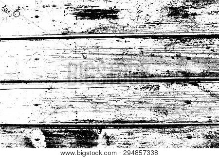 Old Wooden Wall, Horizontal Planks. Abstract Background. Vector Wood Texture. For Posters, Retro And