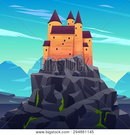 Medieval Castle, Ancient Citadel Or Impregnable Fortress With Stone Towers On Rocky Peak Cartoon Vec