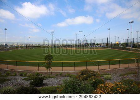 baseball field. baseball stadium. outdoor field for sports.