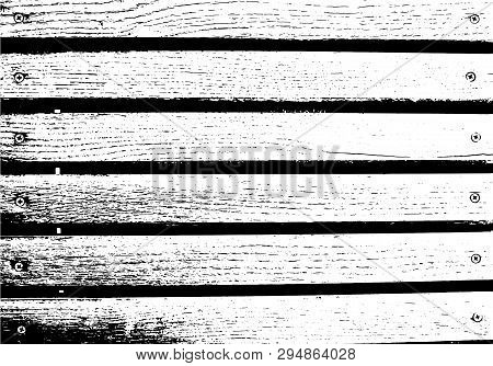 Abstract Background, Old Wooden Wall, Horizontal Wide Planks. Vector Wood Texture. Overlay Illustrat
