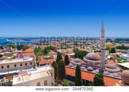 Panoramic View Of The Rhodes Medieval Old City, With The Historic Suleiman Mosque On The Right And T
