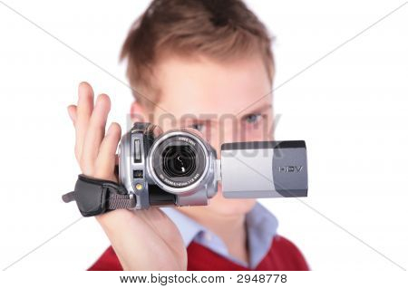 Boy In Red Jacket With Hdv Camera
