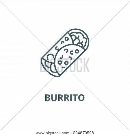 Burrito Line Icon, Vector. Burrito Outline Sign, Concept Symbol, Flat Illustration