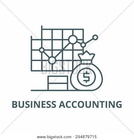 Business Accounting Line Icon, Vector. Business Accounting Outline Sign, Concept Symbol, Flat Illust