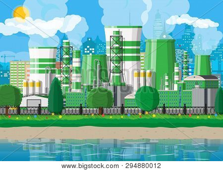 Factory Building. Industrial Factory, Power Plant. Pipes, Buildings, Warehouse, Storage Tank. Green