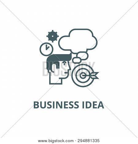 Business Idea, Brainstorm, Target Goal,  Line Icon, Vector. Business Idea, Brainstorm, Target Goal,