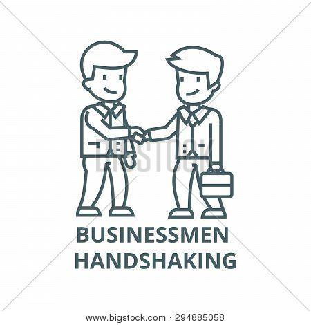 Businessmen Handshaking Line Icon, Vector. Businessmen Handshaking Outline Sign, Concept Symbol, Fla
