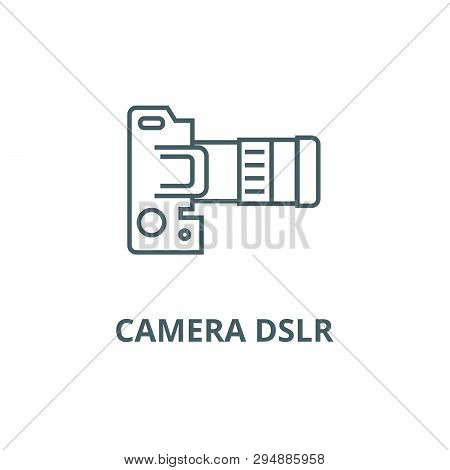 Camera Dslr, Top View Line Icon, Vector. Camera Dslr, Top View Outline Sign, Concept Symbol, Flat Il