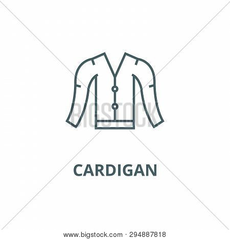 Cardigan Line Icon, Vector. Cardigan Outline Sign, Concept Symbol, Flat Illustration