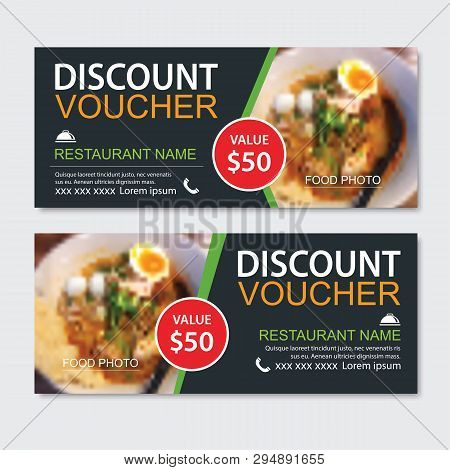 poster of Discount gift voucher asian food template design. Noodles set. Use for coupon, banner, flyer, sale, promotion.