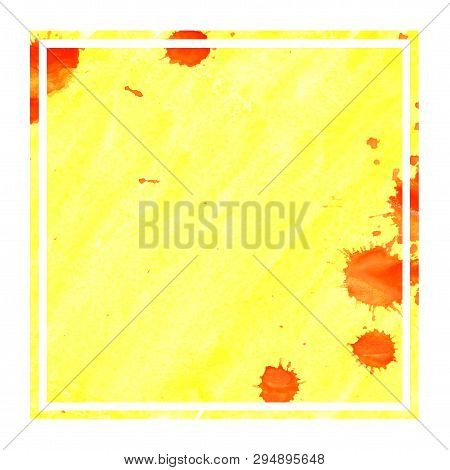 Warm Yellow Hand Drawn Watercolor Rectangular Frame Background Texture With Stains
