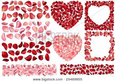 Big collection of detailed realistic rose petals. Different variations and colors, includes frames,hearts,seamless borders. For saint valentine's greeting cards, wedding, engagement invitations, etc.