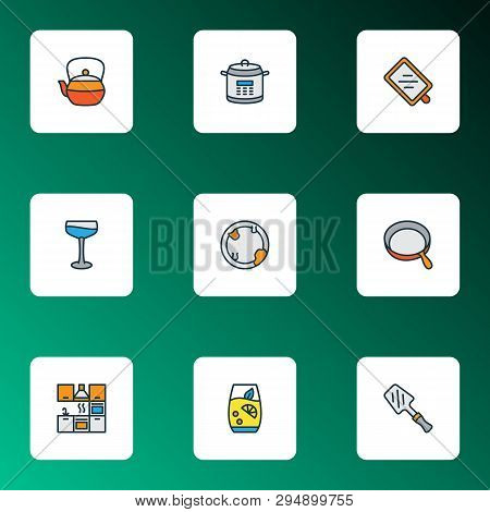 Gastronomy Icons Colored Line Set With Teapot, Lemonade, Skillet And Other Dish Elements. Isolated V