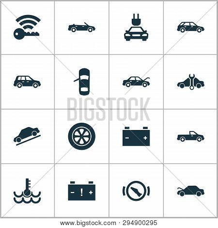 Car Icons Set With Station Wagon, Hill Descent, Crossover And Other Warning Elements. Isolated Vecto