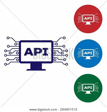Blue Computer Api Interface Icon Isolated On White Background. Application Programming Interface Api