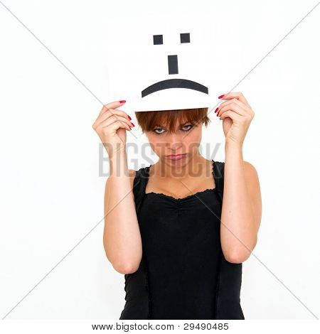 portrait young woman with board sad emoticon face sign