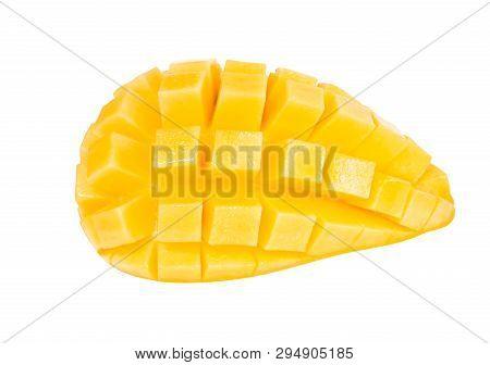 Closeup Ripe Mango Tropical Fruit Slice Isolated On White Background
