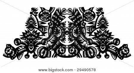Black Decorative Pattern With Flowers
