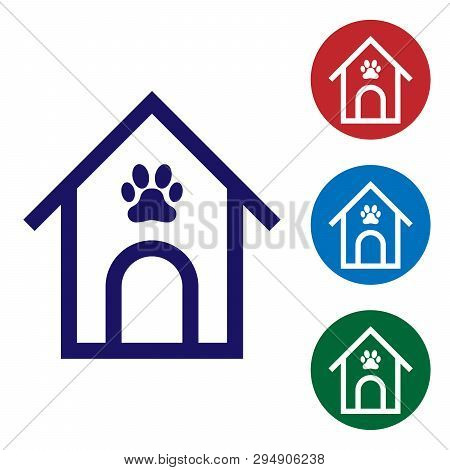 Blue Dog house and paw print pet icon isolated on white background. Dog kennel. Set color icon in circle buttons. Vector Illustration poster