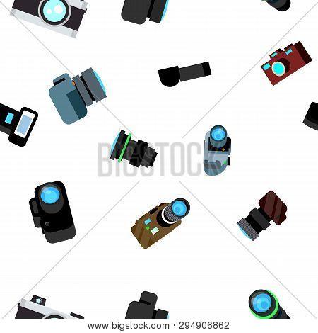 Photo Camera Seamless Pattern Vector. Photocamera Retro Icon. Travel. Cute Graphic Texture. Textile