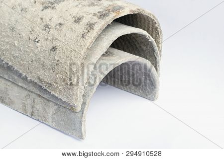 Roof Covering Material With Asbestos Fibres. Health Harmful And Hazards Effects. Prolonged Inhalatio