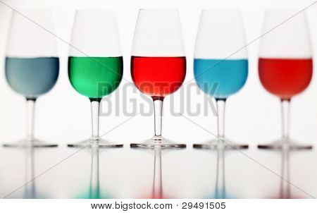 Defocused Glasses Of Colored Liquid