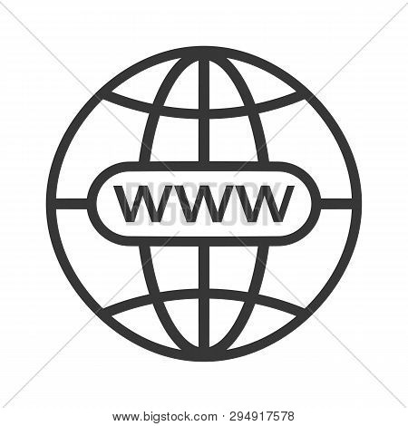 Www Icon. Web Site Icon. Www Icon With Hand Cursor In Flat Style Internet Http Address Icon Isolated