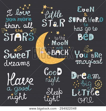 Vector Set Of Night Lettering With Cute Cartoon Phrases.