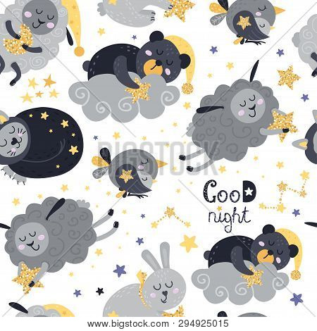 Seamless Pattern With Sleeping Animals. Vector Illustration For Your Design