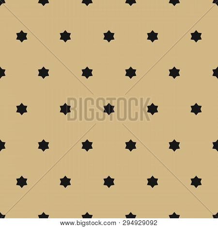 Vector Golden Ornamental Seamless Pattern. Simple Black And Gold Texture With Small Stars, Floral Sh