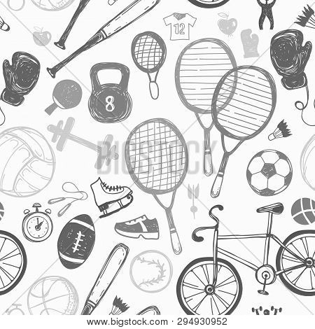 Sport Sketch Pattern. Hand Drawn Icon Background Of Recreation And Leisure.