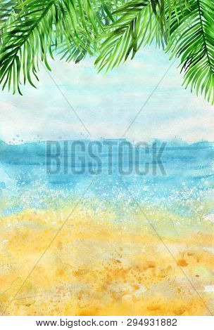 Watercolour Bright Beach Landscape Background With Palm Leaves On Top. Vertical Backdrop For Summer