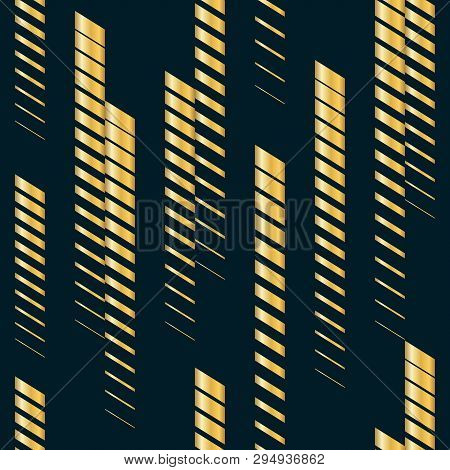 Golden Vector Abstract Geometric Seamless Pattern With Vertical Fading Lines, Tracks, Halftone Strip