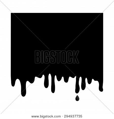 Black Square Banner, Paint Dripping. Template Background Flowing Down. Easy Edit Color. Vector Illus