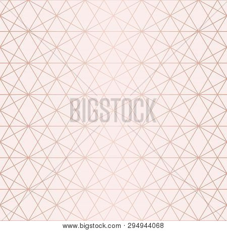 Rose Gold Pattern. Vector Geometric Lines Seamless Texture. Golden Ornament With Delicate Grid, Latt