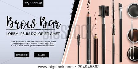 Lash And Brow Bar. Makeup. Accessories. Tools For Care Of The Brows. Eyebrows Pencil. Angle Brush, T
