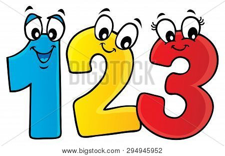 Cartoon Numbers Theme Image 1 - Eps10 Vector Picture Illustration.