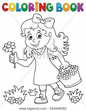 Coloring Book Girl With Flower Theme 1 - Eps10 Vector Picture Illustration.
