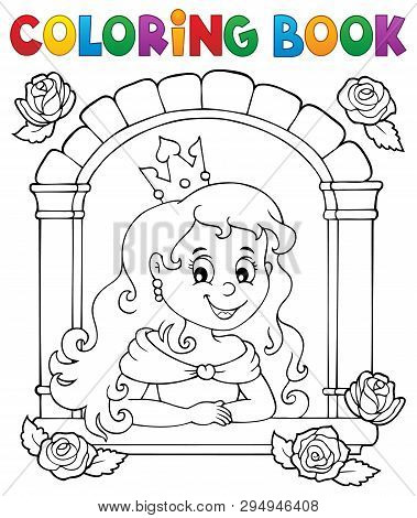Coloring Book Princess In Window Theme 1 - Eps10 Vector Picture Illustration.
