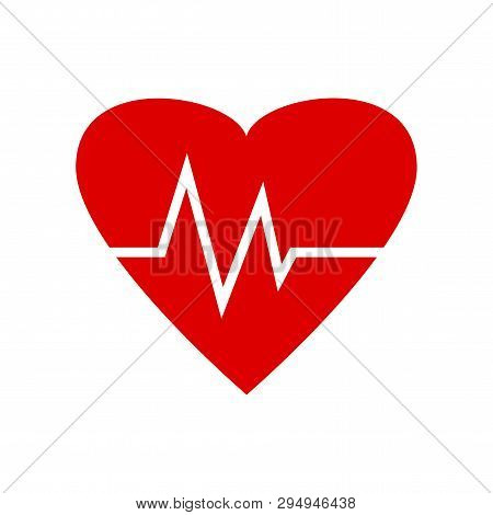 Heartbeat Icon. Red Heart Beat Pulse. Medical Symbol. Vector Illustration