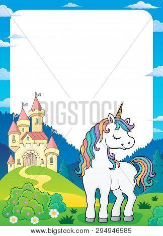Dreaming Unicorn Theme Frame 2 - Eps10 Vector Picture Illustration.