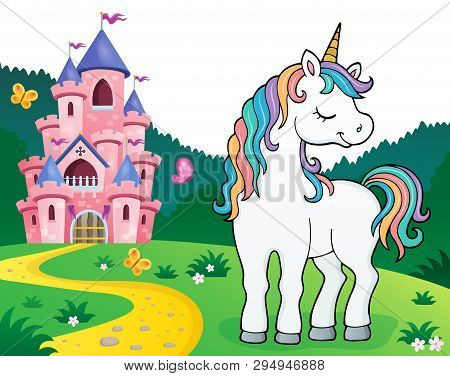 Dreaming Unicorn Theme Image 2 - Eps10 Vector Picture Illustration.