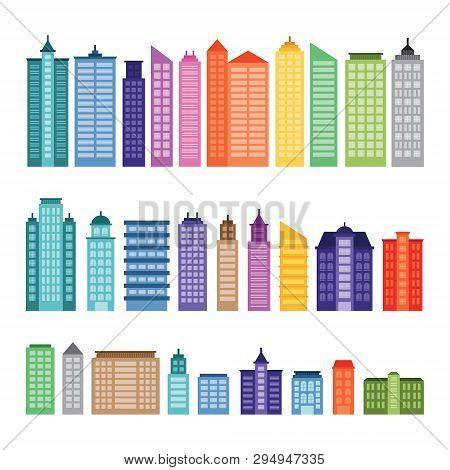 City Tower Skyscraper Building Colorful Flat Design Illustration