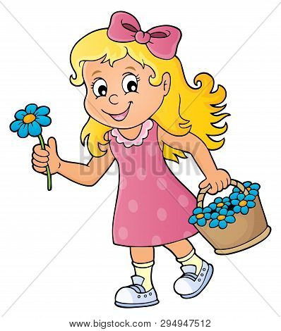 Girl With Flower Theme Image 1 - Eps10 Vector Picture Illustration.
