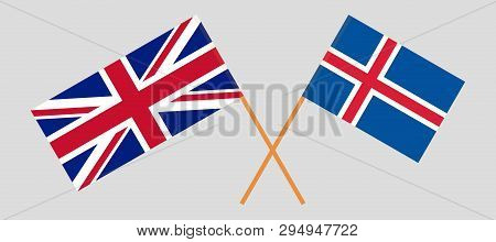 Iceland and UK. The Icelandic and British flags. Official colors. Correct proportion. Vector illustration poster