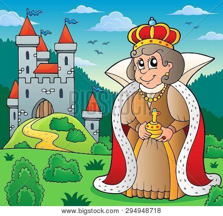 Happy Queen Near Castle Theme 6 - Eps10 Vector Picture Illustration.