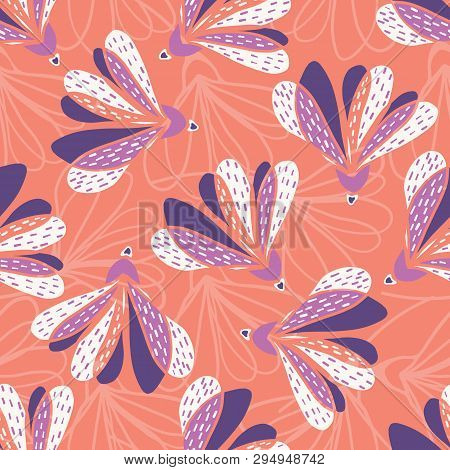 Hand Drawn Large Scale Floral Vector Seamless Pattern. Coral Background.