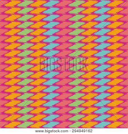 Fabric Effect Dense Geometric Design With Hand Drawn Vertical Blue, Green, Orange, Pink Zig Zag Stri